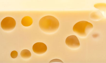 Emmental Swiss cheese isolated on a white studio background.